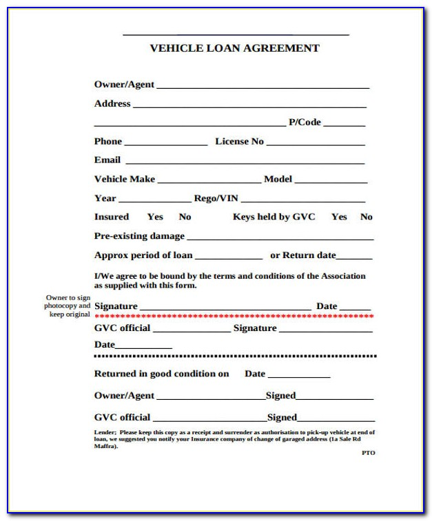 Vehicle Loan Agreement Format