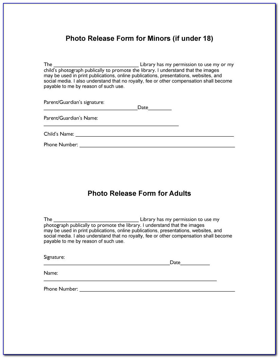 Video Release Form Template Free
