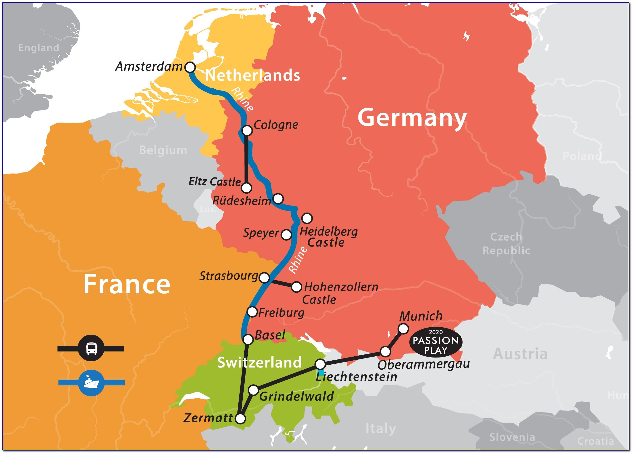 Viking Rhine River Cruise Map