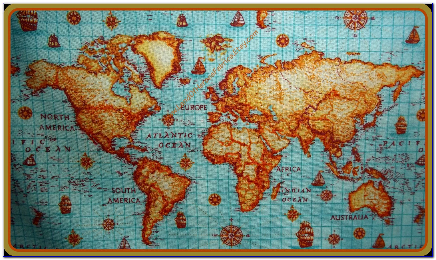 Vintage World Map Fabric By The Yard