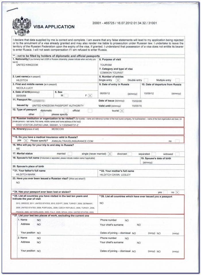 Visa Application Form Russian Embassy