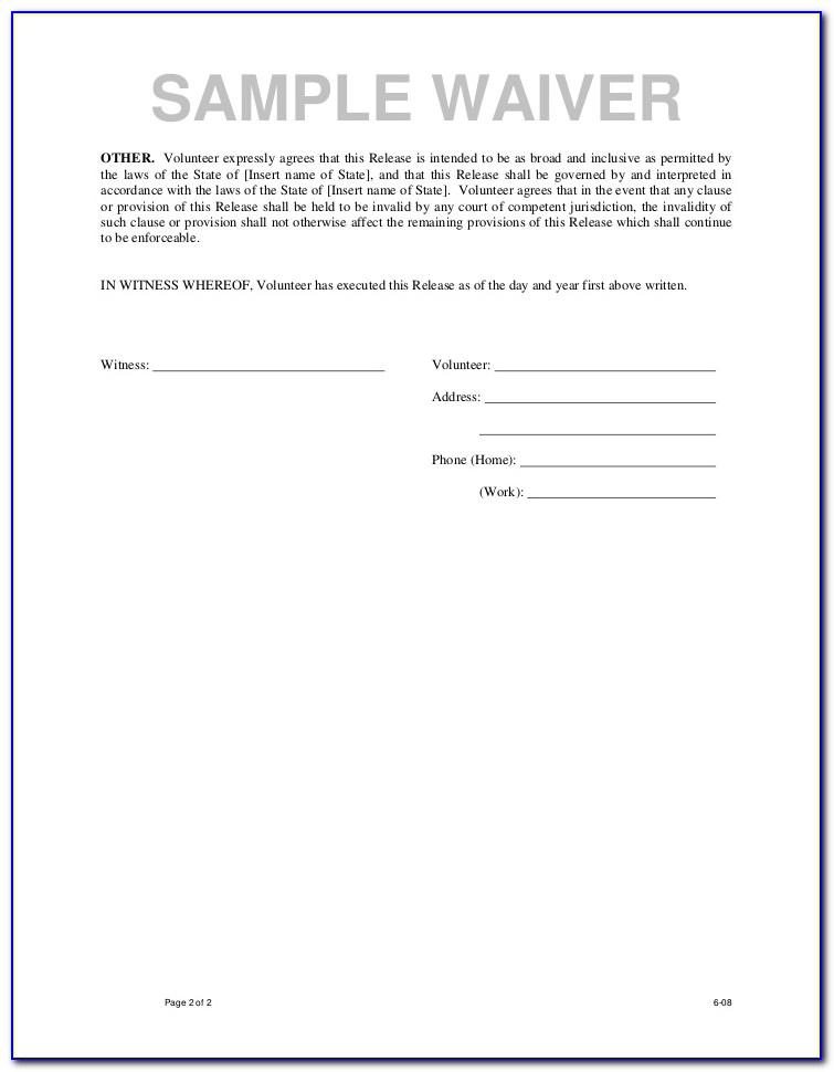 Waiver And Release Form En Español