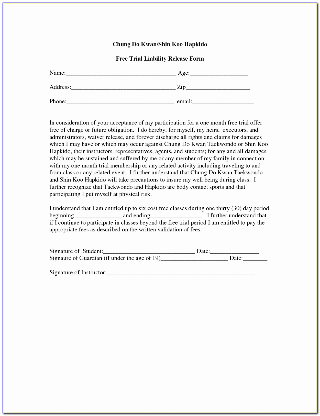 Standard Liability Release Form Form Example Ideas Printable Fitness Waiver And Release Form Template Beautiful Pdf Word Excel Template Oeovu
