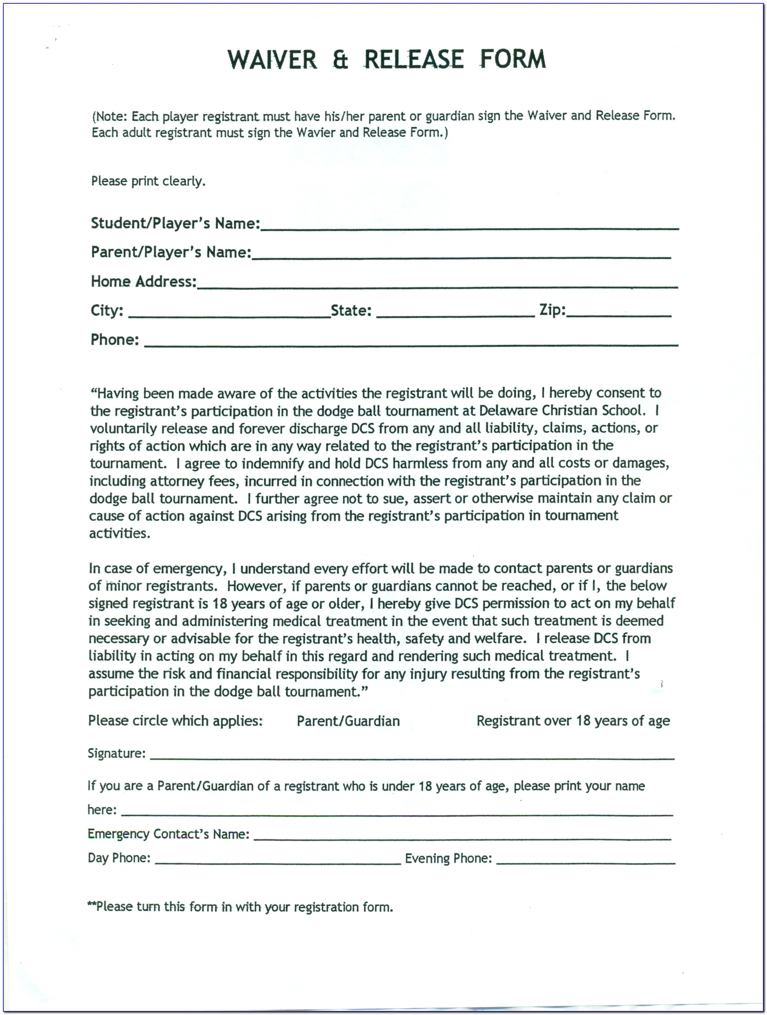 Waiver And Release Form In Spanish