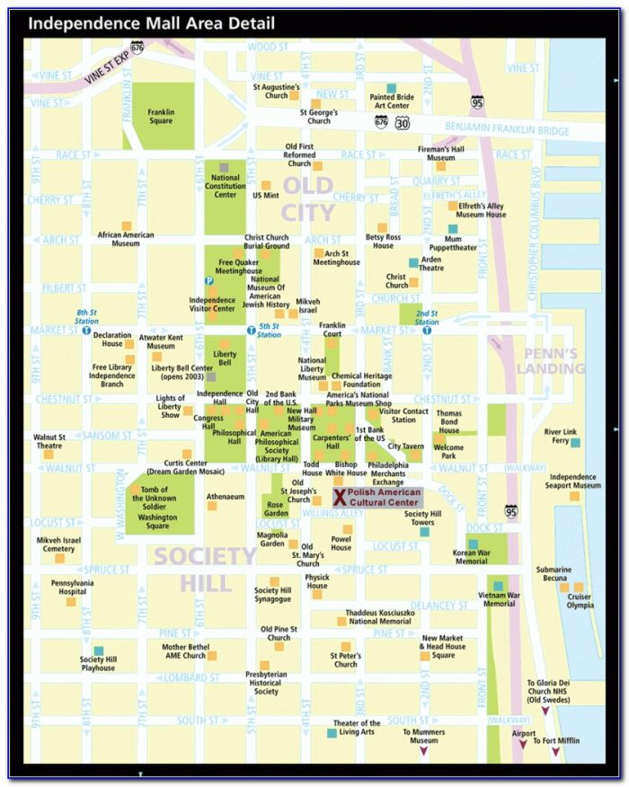 Walking Map Of Philadelphia Historic District