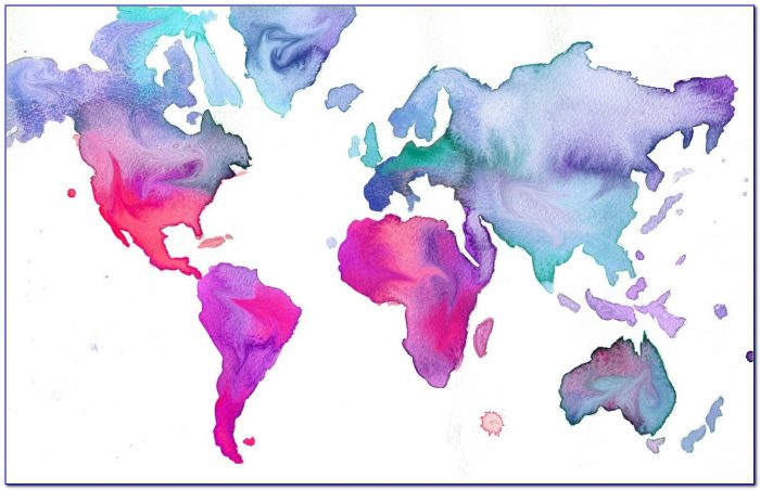 Watercolor World Map Canvas