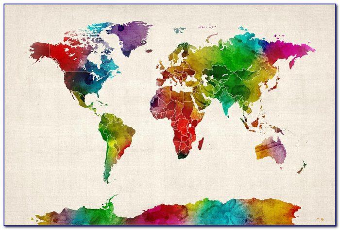 Watercolor World Map Diy