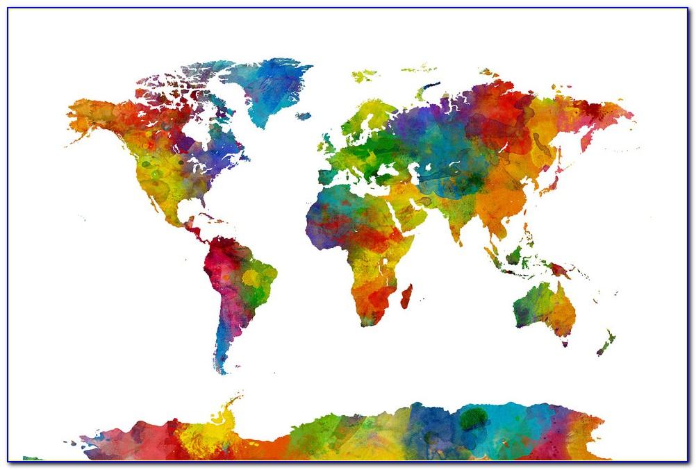 Watercolor World Map Printable