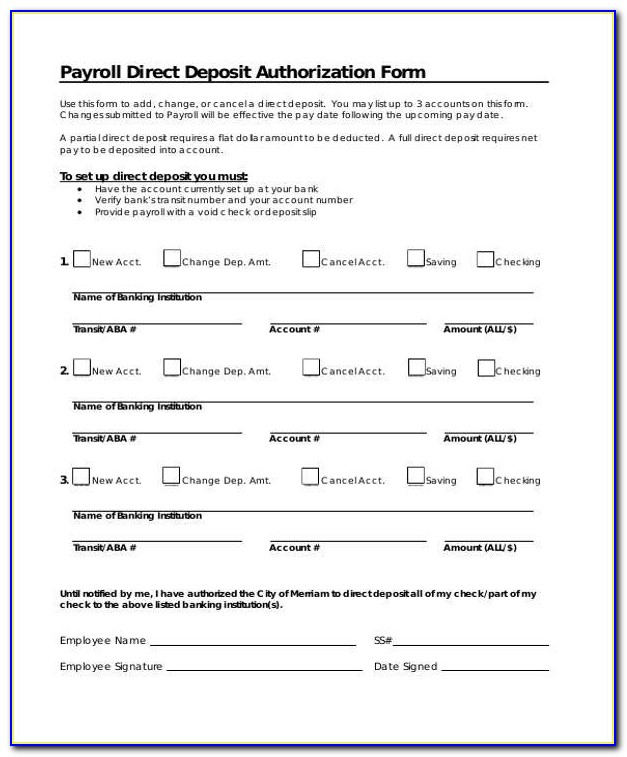 Wells Fargo Business Payroll Services Direct Deposit Authorization Form
