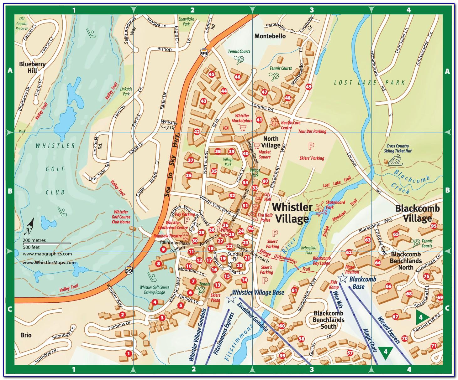 Whistler Village Lodging Map