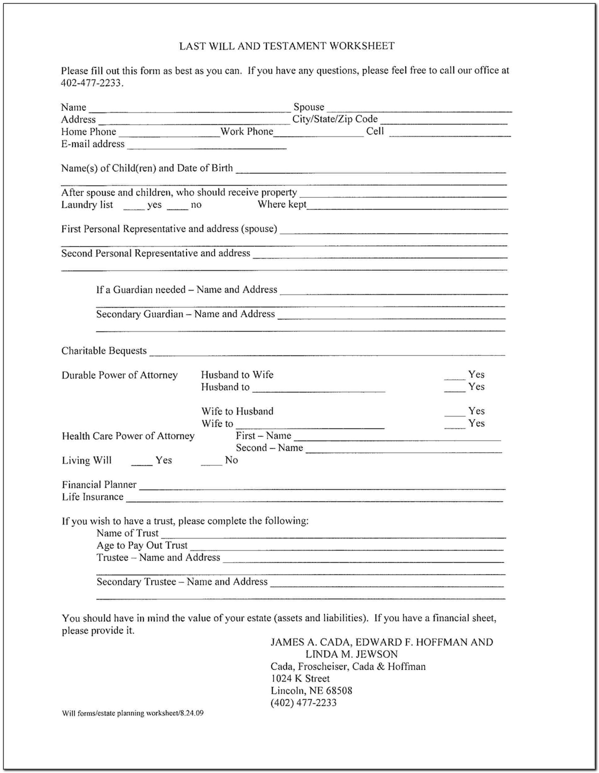 Wills Free Downloads Forms
