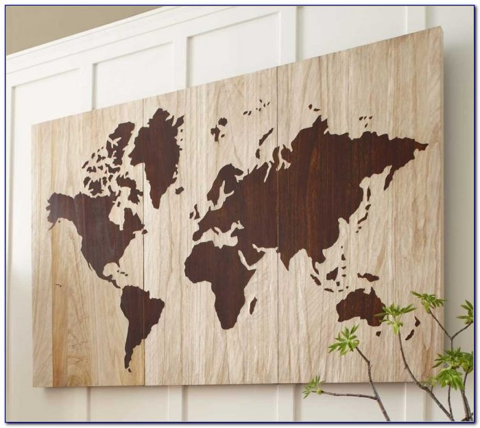 Wooden World Map Cut Out