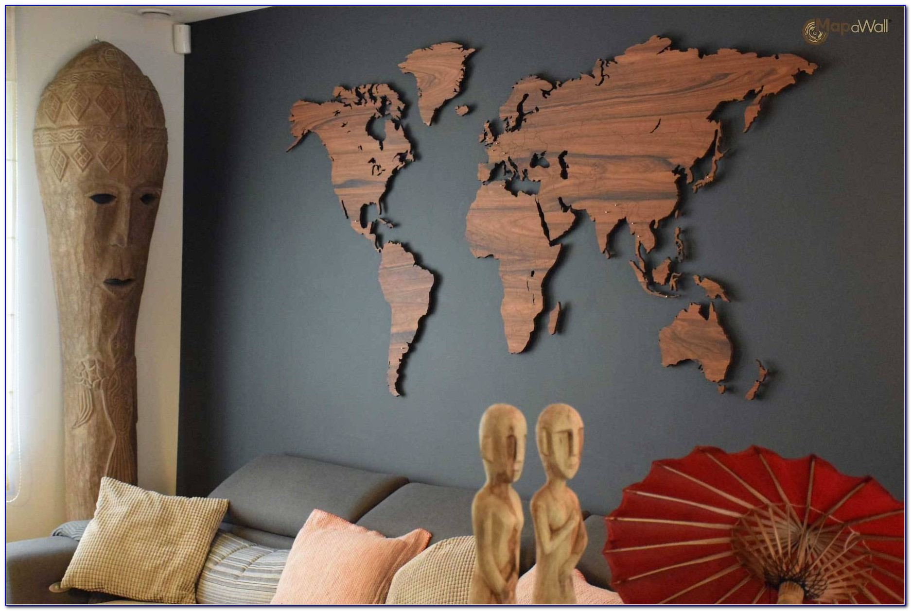 Mapawall Wooden World Map Palisander With Country Borders Inside 2017 Wooden World Map Wall Art