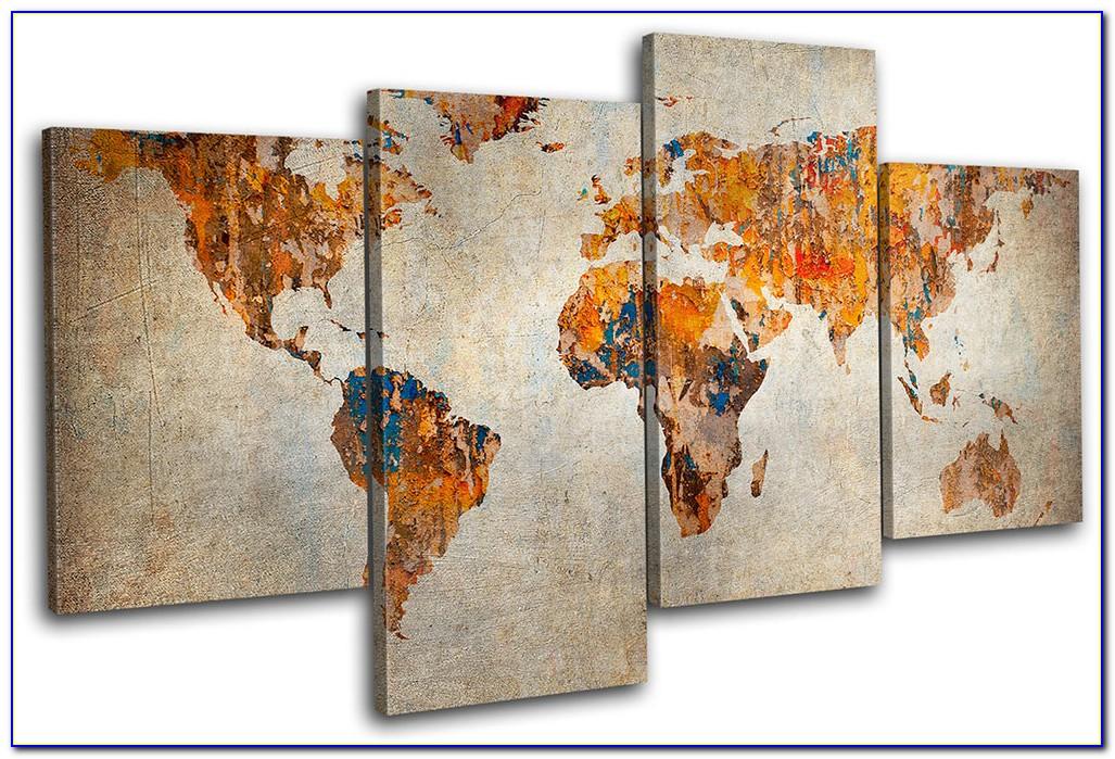 World Map Canvas Wall Art Uk