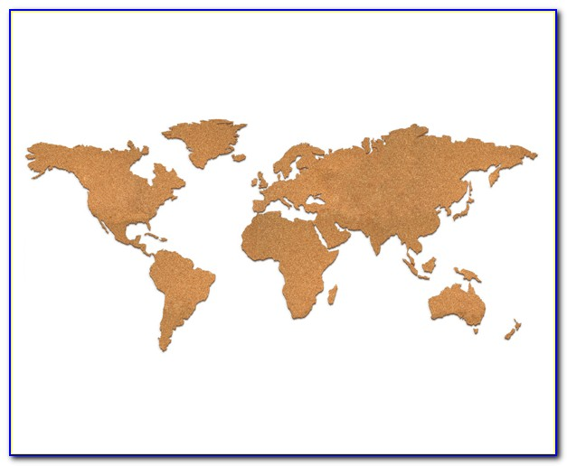 World Map Cork Board Pin Board