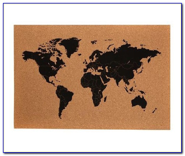 World Map Corkboard In Frame