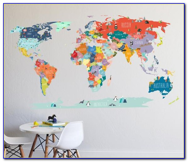 World Map Decal For Wall
