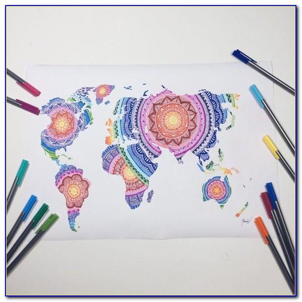 World Map Mandala Coloring