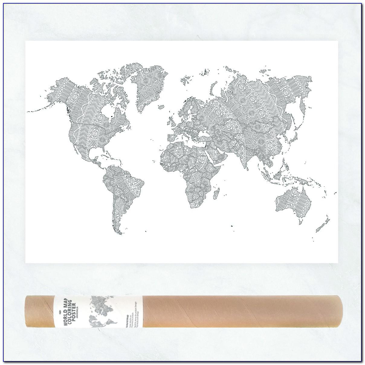 World Map Mandala Drawing
