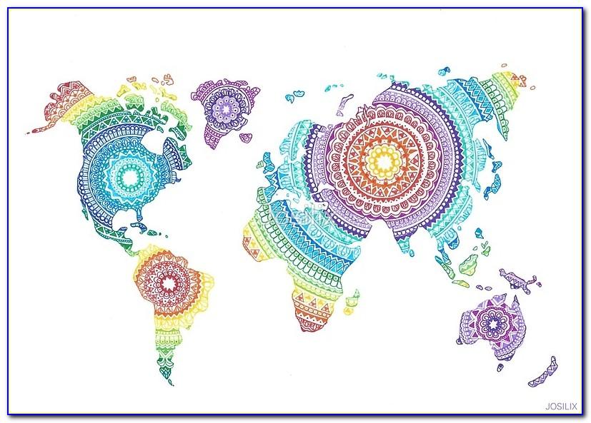 World Map Mandala Tapestry