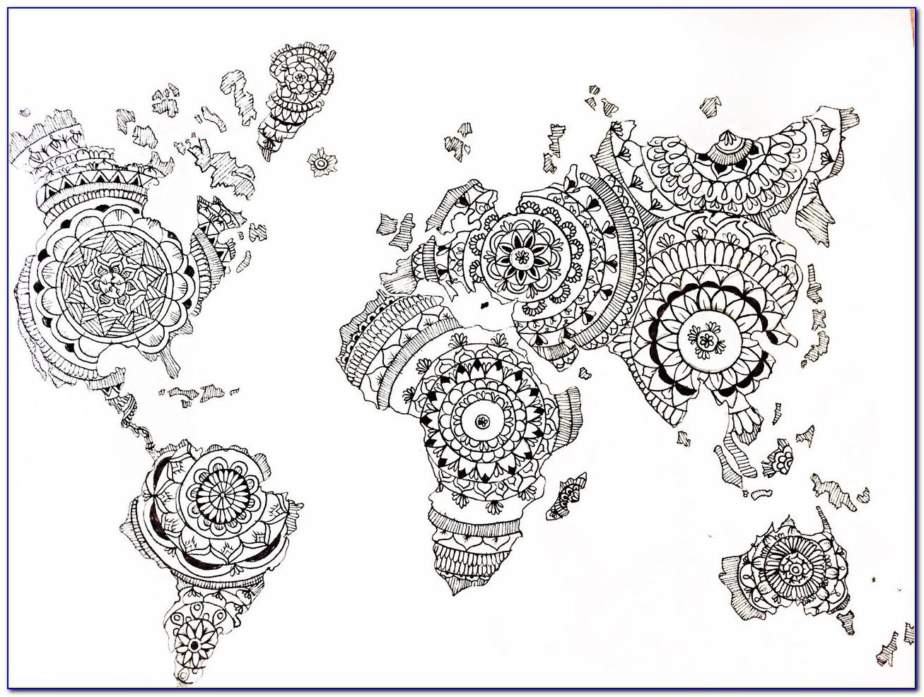 World Map Mandala Tattoo