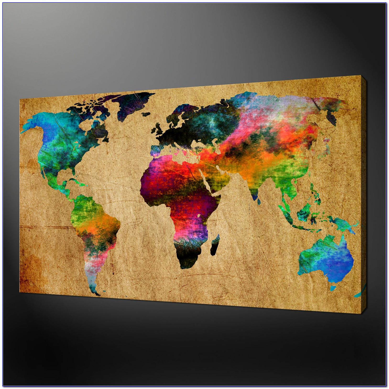 World Map Masterpiece Multi Panel Canvas Wall Art