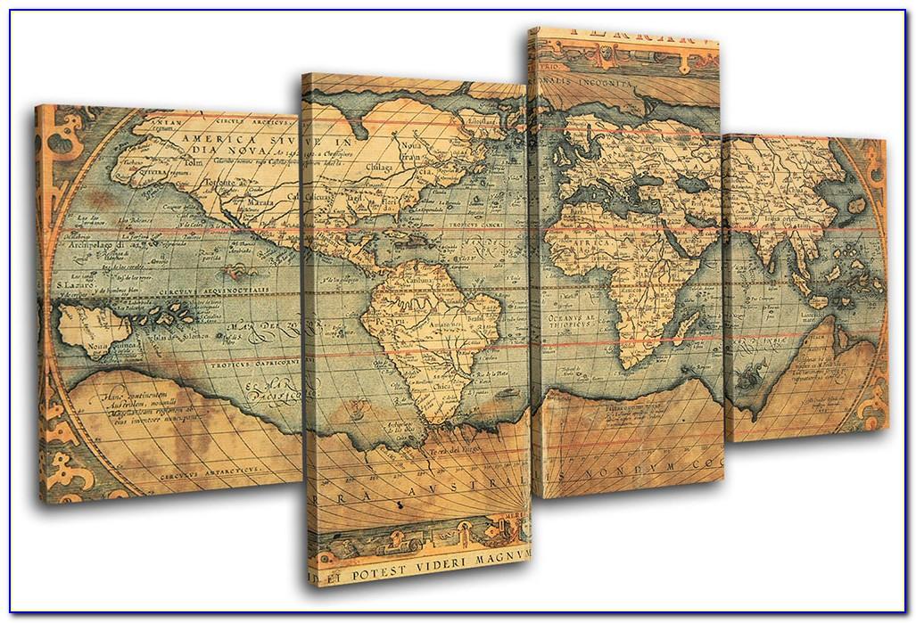 World Map Multi Panel Canvas Wall Art