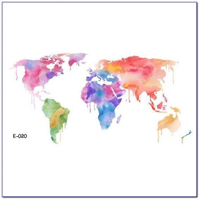 World Map Outline Temporary Tattoo
