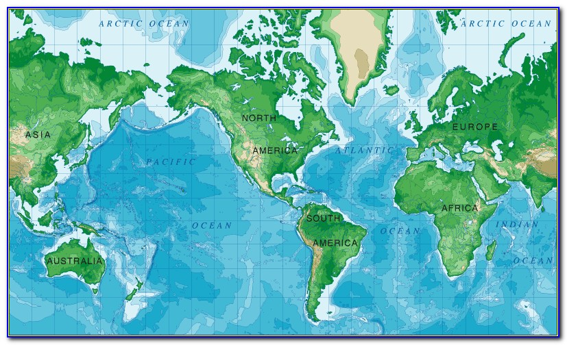 World Mercator Projection Map With Country Outlines Labeled