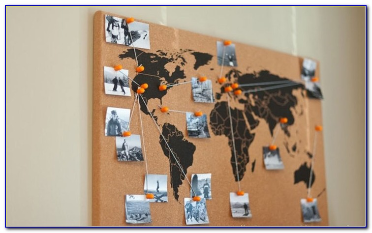 World Travel Map Pinboard Golden Age