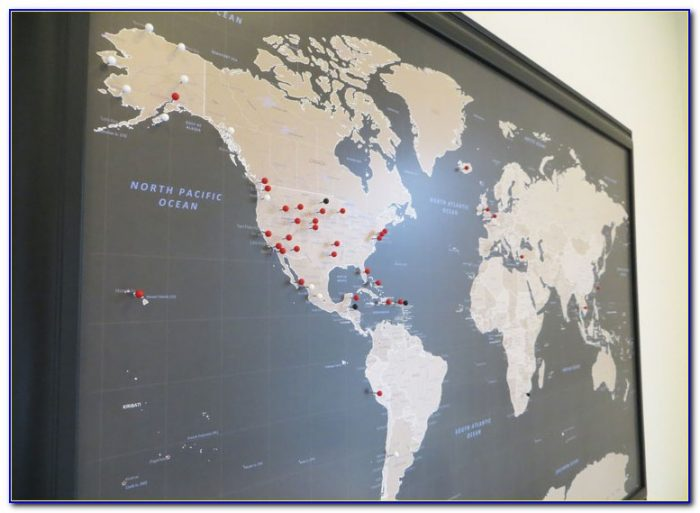 World Travel Map With Push Pins