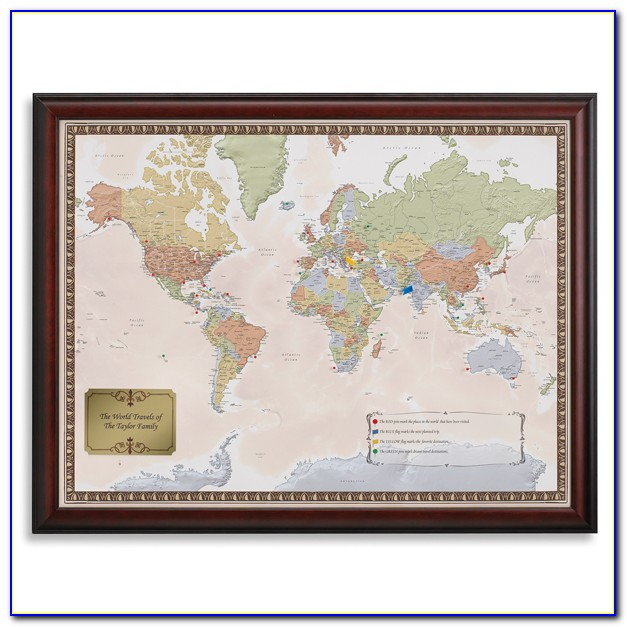 World Traveler Map Set Framed Gift