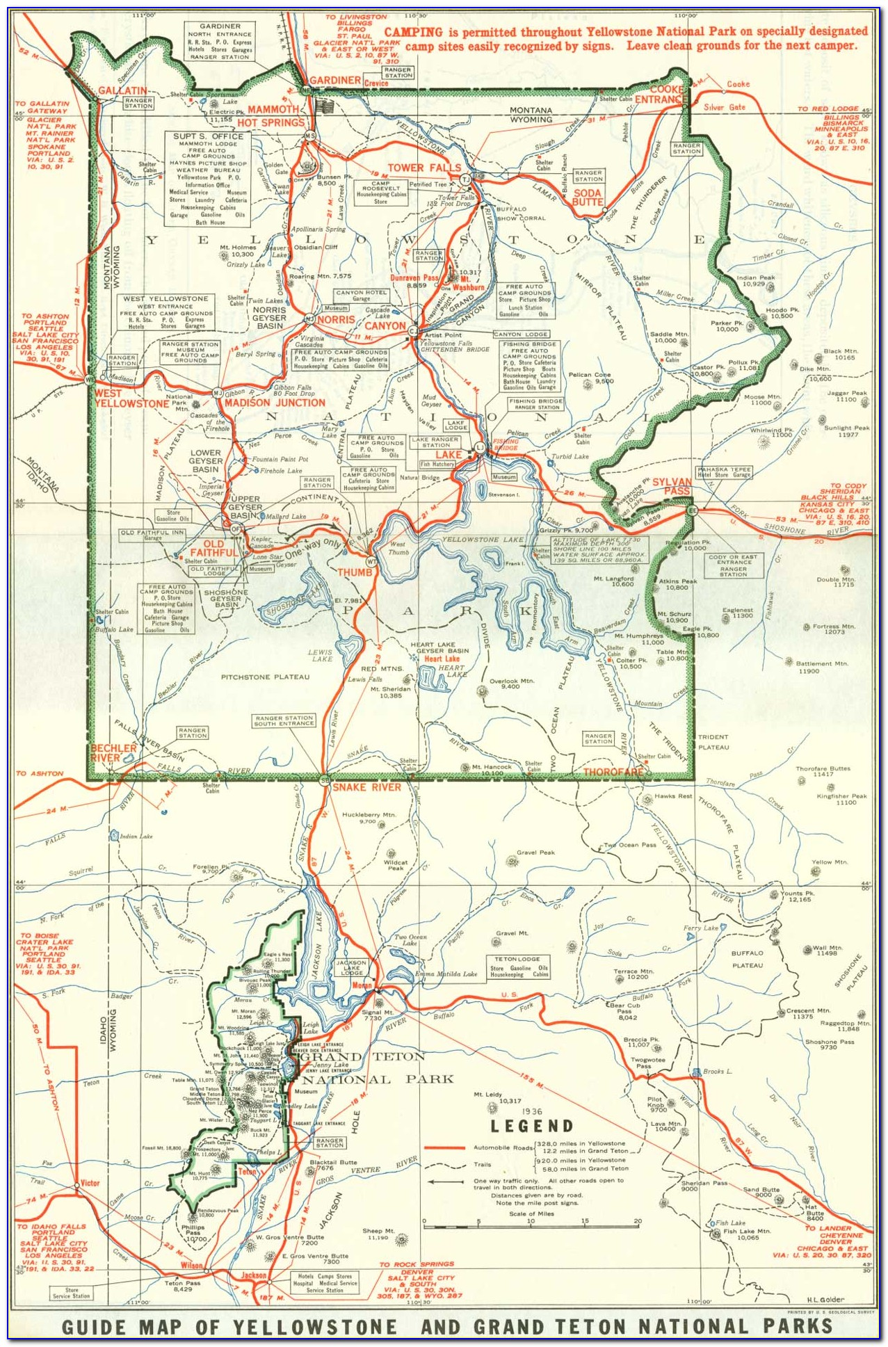 Yellowstone And Grand Teton Map