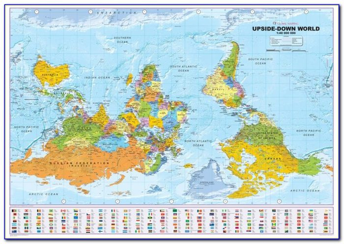 20th Century Upside Down Map Of The World