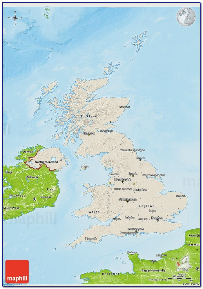 Shaded Relief 3d Map Of United Kingdom, Physical Outside.