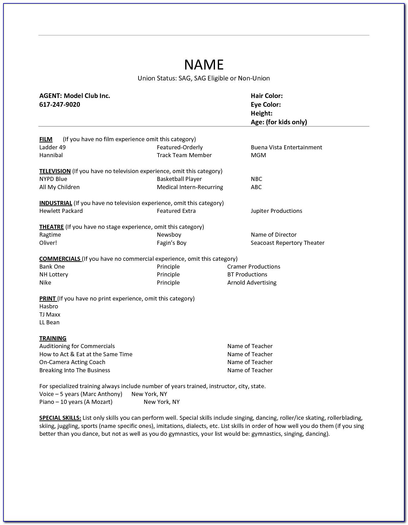 Acting Resume Builder