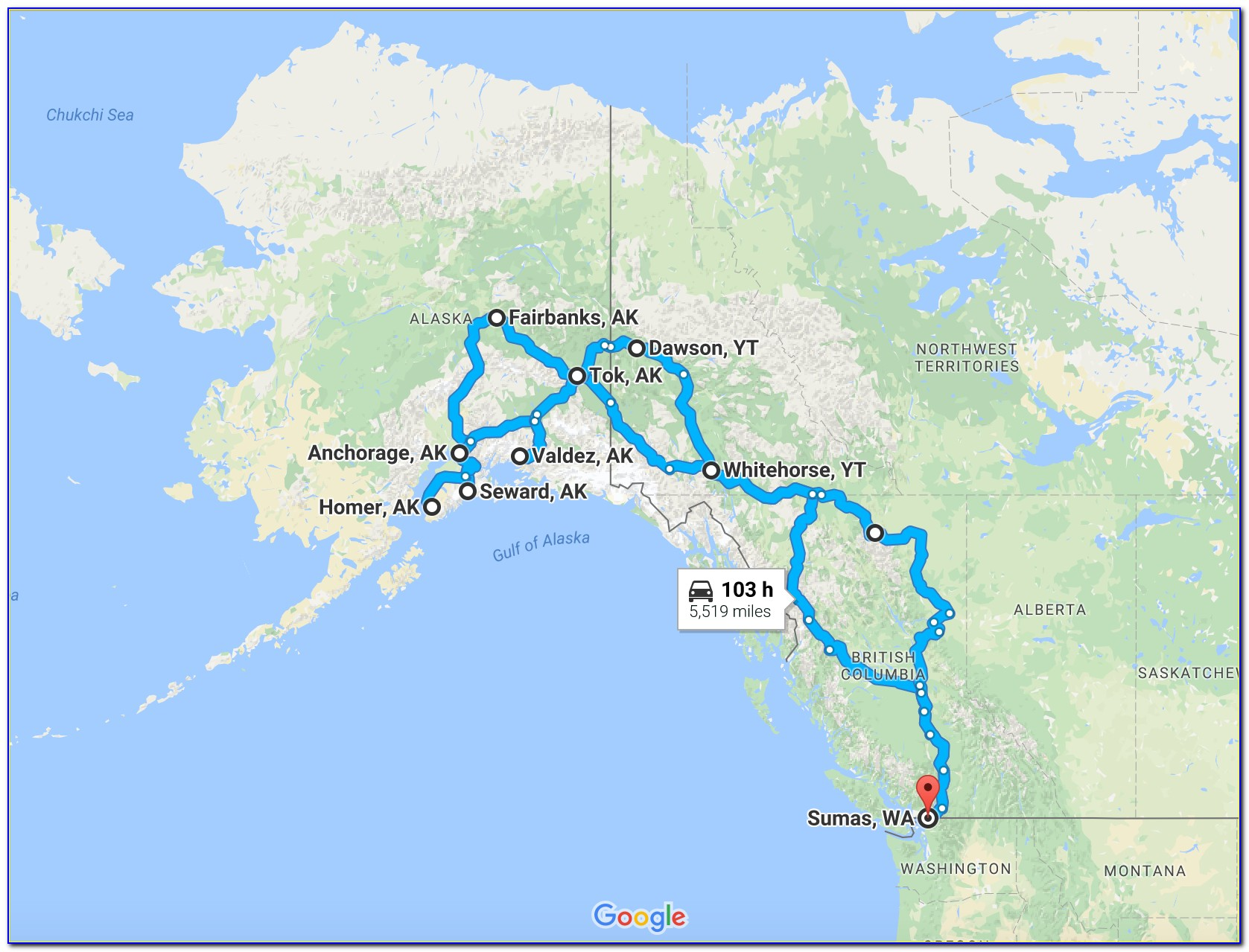 Alaska Road Map Rv Travel Guide
