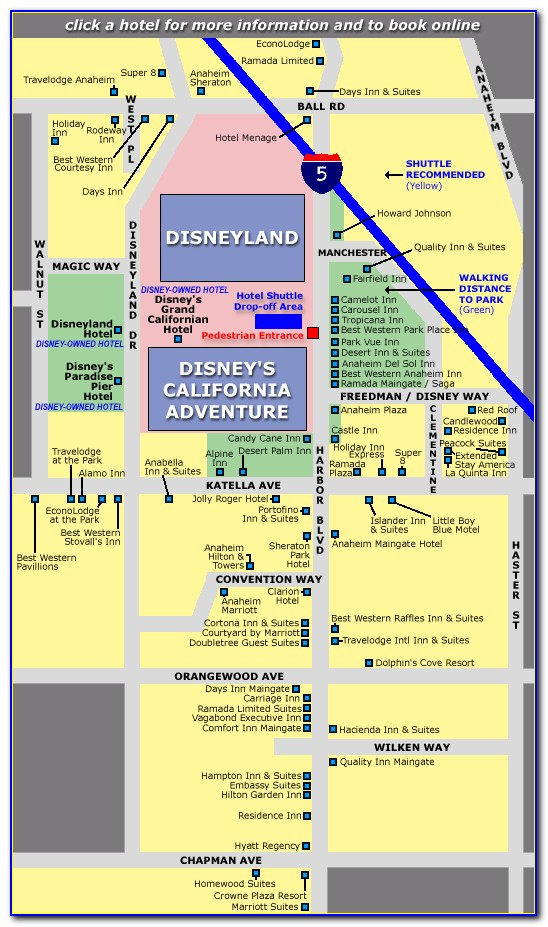 Anaheim Accommodation Map