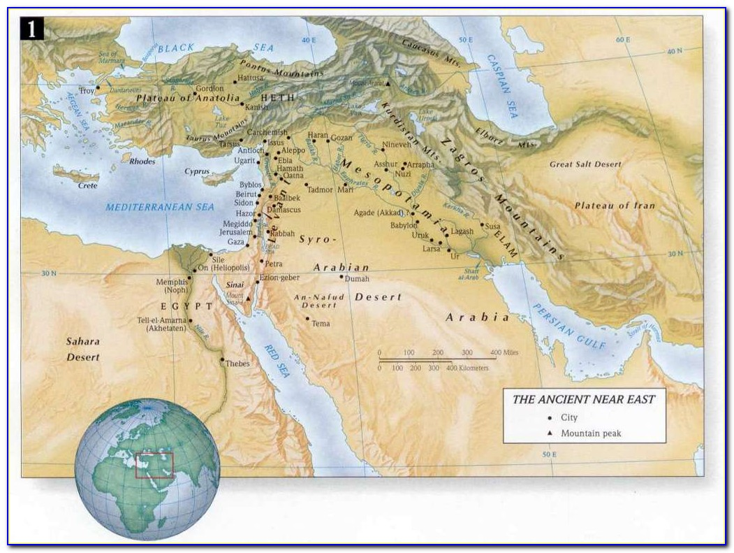 Ancient Biblical Map Of The Middle East
