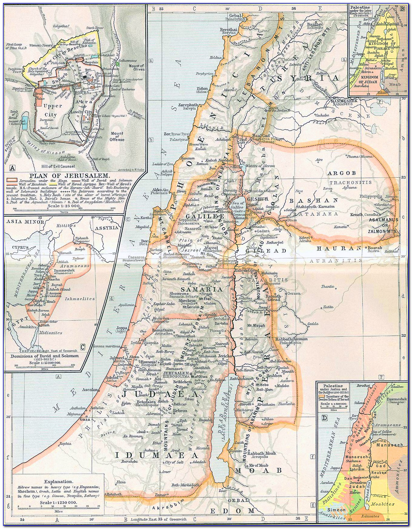 Ancient Map Of Israel And Palestine