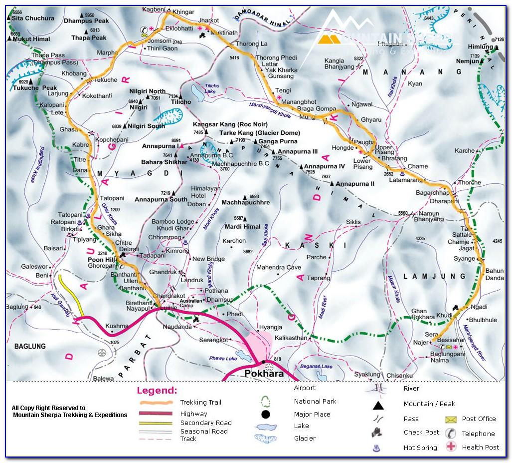 Annapurna Base Camp Trekking Route Map