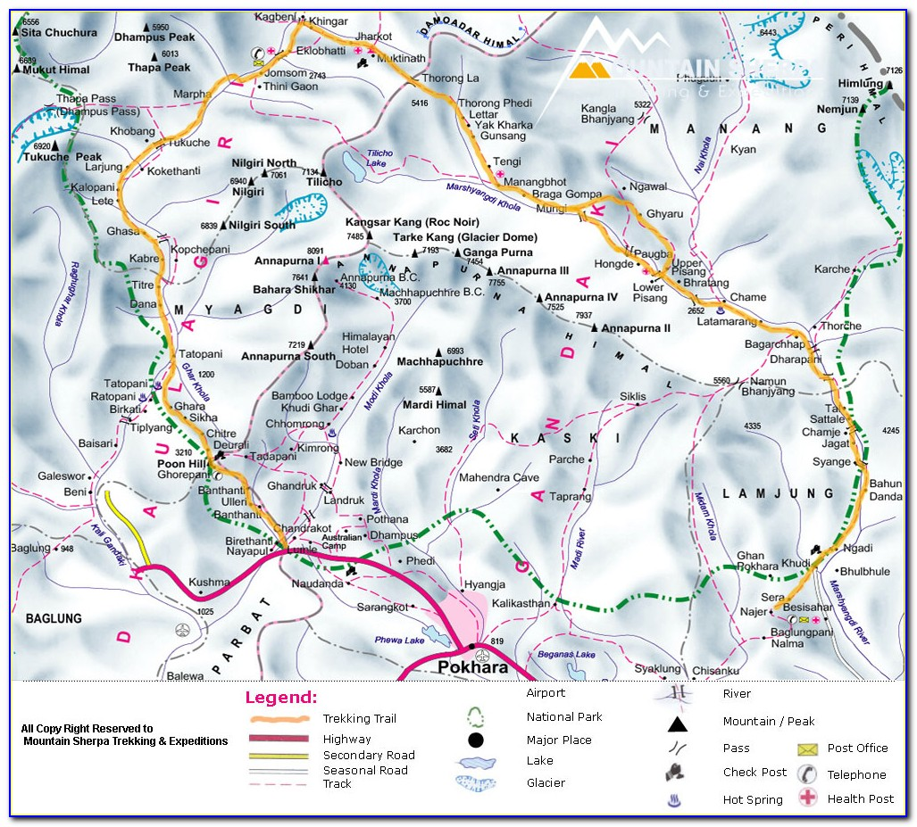 Annapurna Trekking Map And Complete Guide