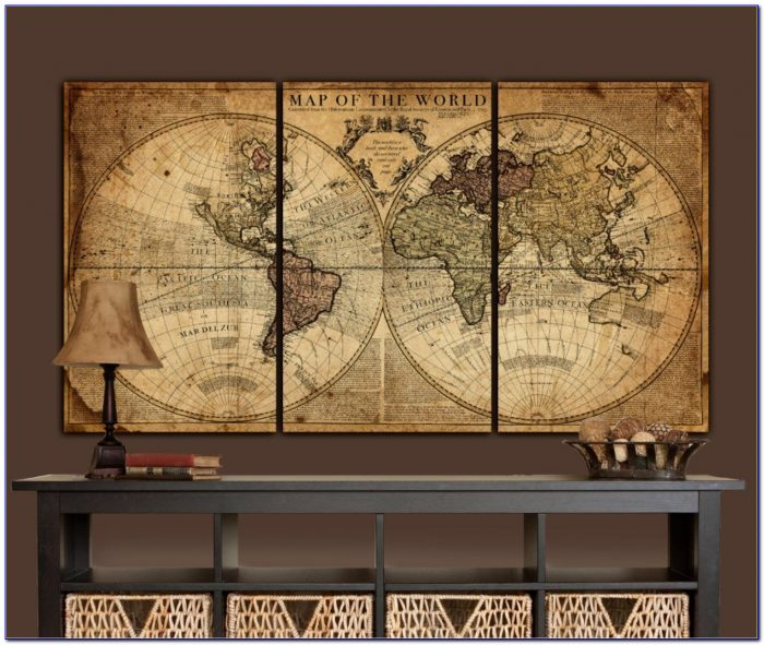 Globe Tan Map World Map Canvas Vintage Map Set Large Wall In Antique Map Wall Art