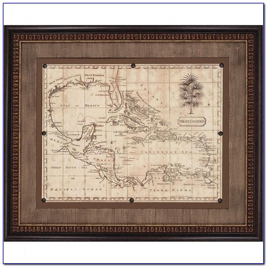Antique World Map Framed