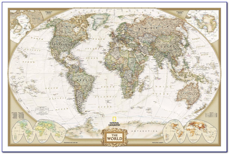 Antique World Map Wall Art
