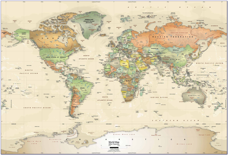 Antique World Map Wall Decor