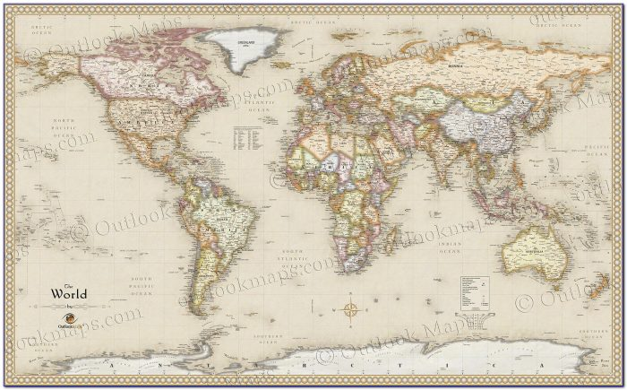 Antique World Map Wall Sticker