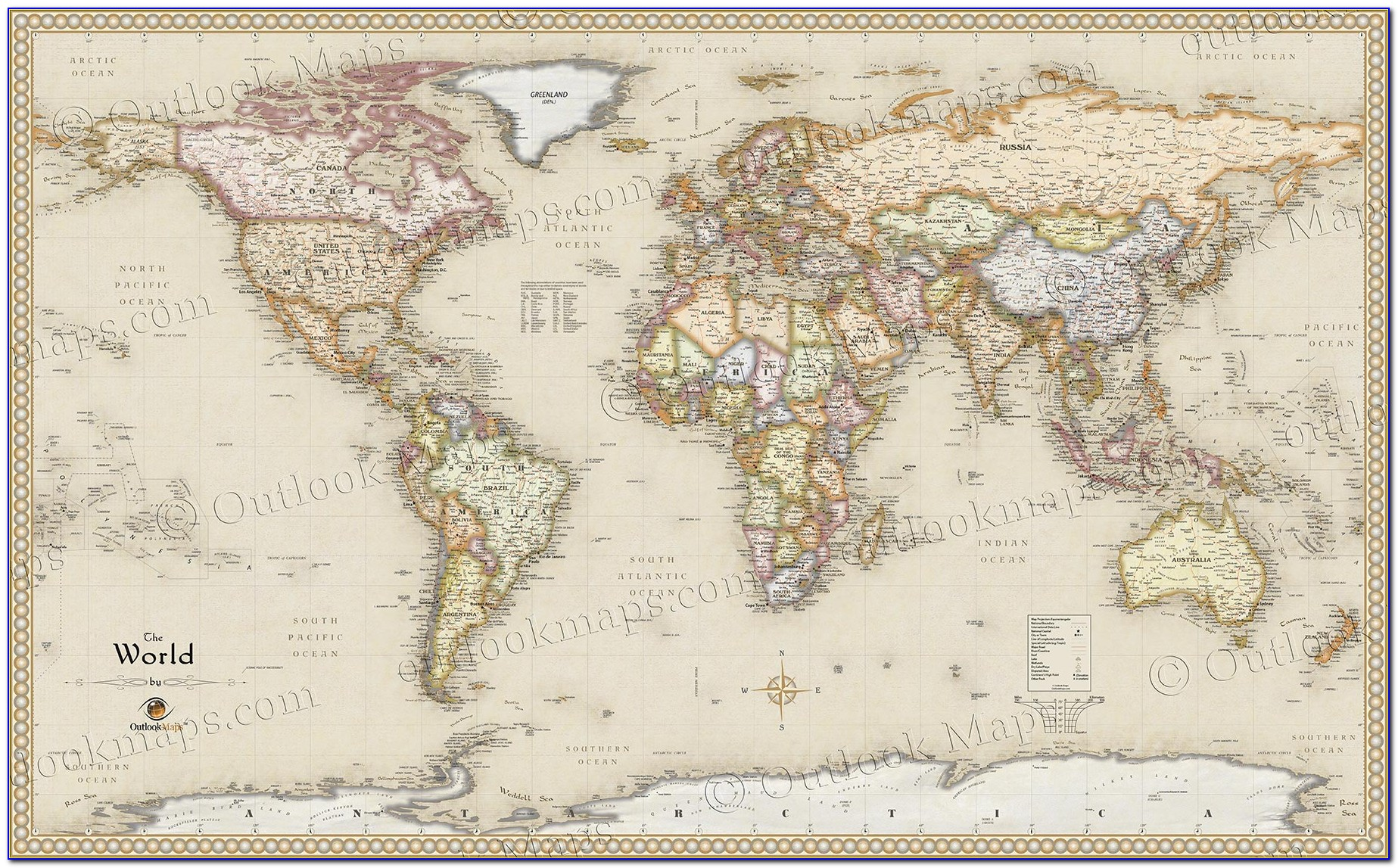 Antique World Map Wall Sticker