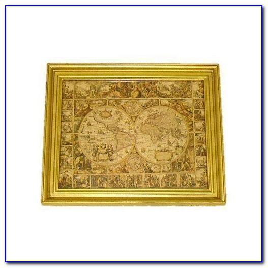 Antique World Map Wooden Frame
