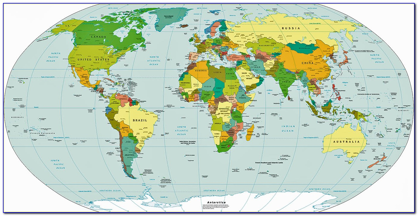 Atlas World Map With Countries And Capitals